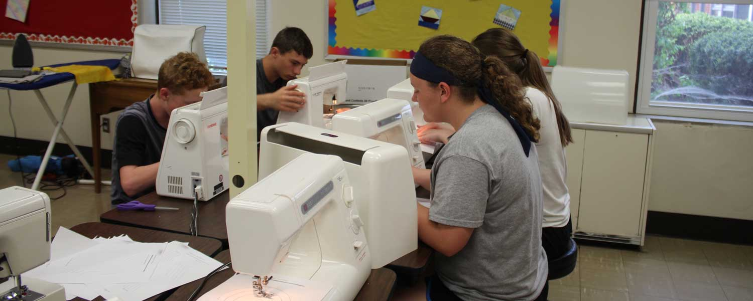 students in sewing class