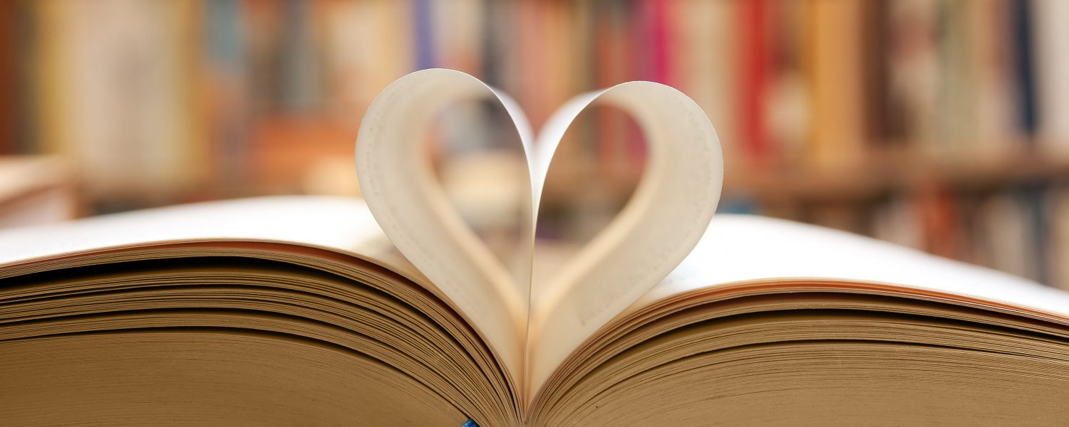 Book pages shaped like a heart