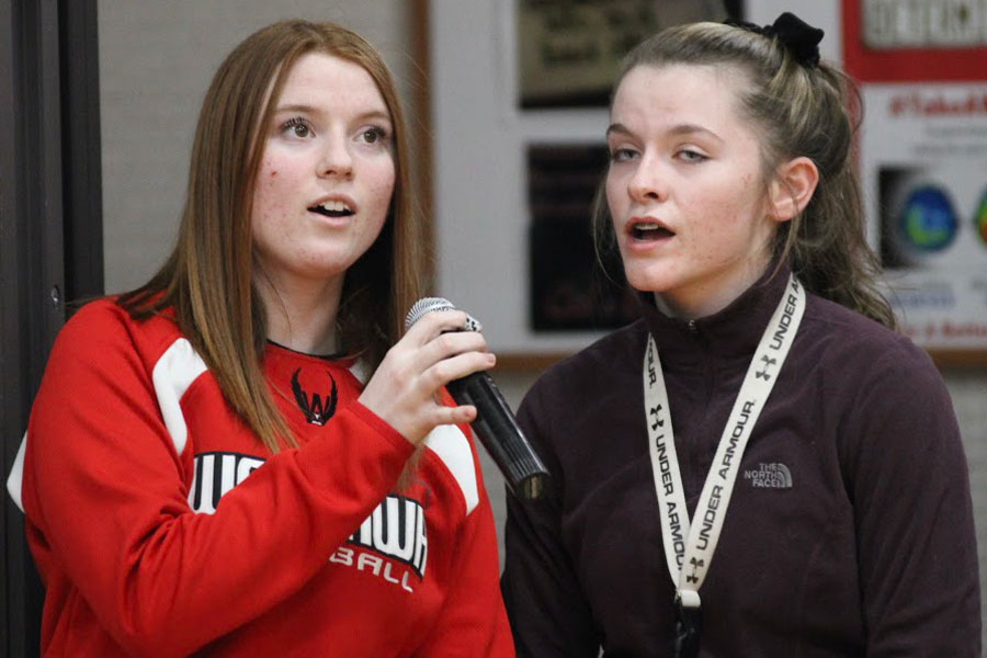 Emily Sampson and Jalayna Shipley Sing National Anthem